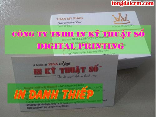 In danh thiếp lấy liền tại Công ty TNHH In Kỹ Thuật Số - Digital Printing